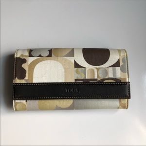 Tous Kaos Brown Multi-Colored Canvas Large Wallet
